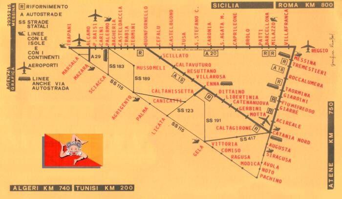 Cartina Autostradale Sicilia.Stradario Autostradale Topografia Cartina Sicilia Messina Sicily Trinacria